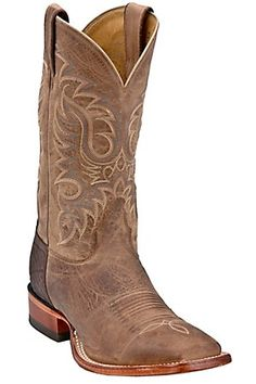 Nocona Men's Tan Brown Vintage Cow Double Welt Square Toe Western Boots