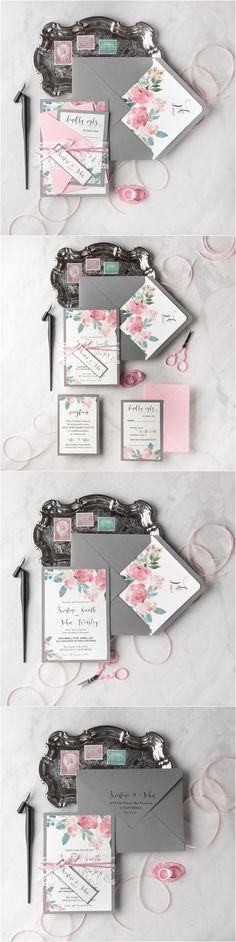 Rustic blush pink and grey watercolor wedding invitations #rusticwedding #countrywedding #weddingideas #fallwedding