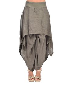 Look at this 100% LIN Khaki Linen Layered Palazzo Pants - Plus Too on #zulily today!
