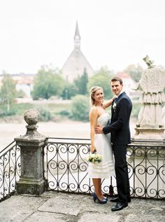 Salzburg Wedding by Siegrid Cain. Shorter wedding dress, pretty blue shoes!