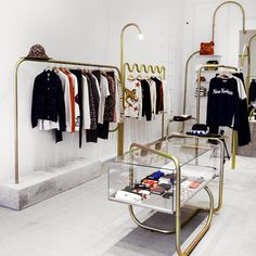 Maison Kitsune store in New York by Mathieu Lehanneur Fashion Shop Interior, Clothing Store Interior, Clothing Store Design, Retail Interior Design, Boutique Interior Design, Retail Store Design, Fashion Store Design, Retail Stores, Fashion Stores