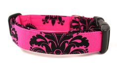 Dog CollarHot Pink DamaskMade to Order in Your by BowWowCouture, $19.95