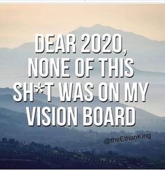 Dear 2020, None of this SH*T was on my vision board.