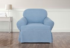 Sure Fit Slipcovers Authentic Denim One Piece T-cushion Slipcovers - Chair