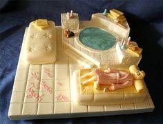 Spa-inspired cake - we love! Spa Cake, Pool Cake, Pretty Cakes, Beautiful Cakes, Amazing Cakes, Fondant, Birthday Cakes For Men, Spa Birthday, Dinosaur Birthday