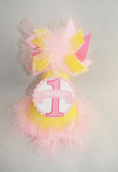 Personalized Yellow & Pink Birthday Party Hat by DoodlesDotsnDimples Birthday Party Hats, Pink Birthday, Birthday Cake, Yellow, Awesome, Unique Jewelry, Handmade Gifts, Etsy, Kid Craft Gifts
