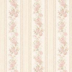 Vintage Rose englische Landhaus Satintapeten Streifen Rosen Art.-Nr.: 68315