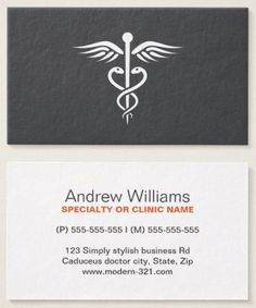 modern stylish gray medical doctor caduceus business card - Doctor Business Card
