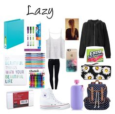 """Back to School- Outfit #4 + Supplies"" by bubbles-a ❤ liked on Polyvore featuring MANGO, 7 For All Mankind, Converse, rag & bone, Forever 21, Paper Mate, SM New York, Motel, Aquaovo and Casetify"