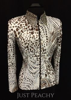 White and Chocolate Jacket with Pearls by Expressions ~ Ladies XL – Just Peachy