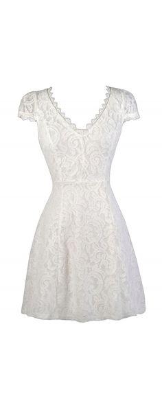 Lily Boutique Tarah Capsleeve A-Line Lace Dress in Off White, $38 Off White Lace Dress, Cute Lace Dress, Off White Lace A-Line Dress, Off…