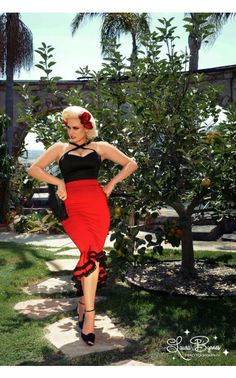 Deadly Dames- Flamenco Mermaid Skirt in Red | Pinup Girl Clothing