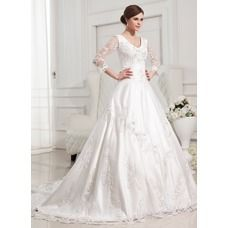 [US$ 324.49] Ball-Gown V-neck Chapel Train Satin Tulle Wedding Dress With Lace Beadwork (002012846)