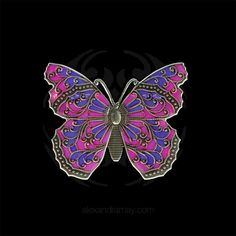 Au Bout Des Reves Pink & Purple Translucent Enamel Butterfly Brooch (A | Alexandra May Jewellery