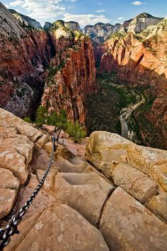 One of the best hikes I've been on in MY life. So strenuous - Zion Canyon as seen from Angels Landing at Zion National Park in Utah.