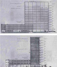 Planos generales de la Torre de Rectoría, diseñada por Luis Rafael Cervantes González.