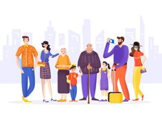 family designed by Pavel Liu for RED. Connect with them on Dribbble; People Illustration, Flat Illustration, Character Illustration, Character Flat Design, Character Design Inspiration, Family Vector, Web Design Tips, Illustrations And Posters, Drawing People