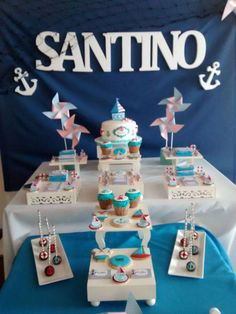 Dessert table at a nautical birthday party! See more party planning ideas at CatchMyParty.com!