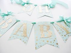 Mint Twinkle Baby Shower Banner