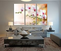 Large Art Orchid Flowers Canvas Print, Extra Large 3 Panel Orchid Art Canvas Print, Flowers Framed Wall Art