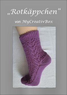"""Socken """"Rotkäppchen"""" für Gr. 32-47, Anleitung von MyCreativBox, gestrickt mit Sockenwolle 4-fach"""