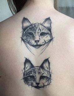 awesome Geometric Tattoo - 2017 trend Geometric Tattoo - Kamil Mokot cat tattoo...... Check more at http://tattooviral.com/tattoo-designs/geometric-designs/geometric-tattoo-2017-trend-geometric-tattoo-kamil-mokot-cat-tattoo/