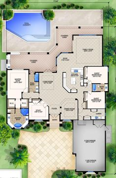 House Plan - Luxury Plan: Square Feet, 3 Bedrooms, 3 Bathrooms keep office wall open maybe a half wall sitting room for mb and no pool New House Plans, Dream House Plans, House Floor Plans, My Dream Home, Sims 3 Houses Plans, Building Plans, Building A House, Murphy Bed Plans, House Blueprints