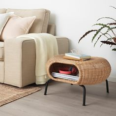 GAMLEHULT rattan, anthracite, Footstool with storage. Made of hand-woven rattan, a living material that makes each footstool unique. You can also use it as extra seating or hidden storage under the seat. A great way to invite nature into your home. Rattan Ottoman, Rattan Furniture, Handmade Furniture, Ottomans, Catalogue Ikea, Storage Footstool, Ottoman With Storage, Ikea Footstool, Lineup