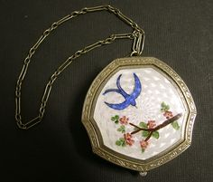 Vintage Art Deco Guilloche Bluebird of Happiness Compact, circa 1920s