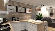 Kuchnia styl Nowoczesny - zdjęcie od KRET'''KA PRACOWNIA PROJEKTOWA - Kuchnia - Styl Nowoczesny - KRET'''KA PRACOWNIA PROJEKTOWA Hall And Living Room, Living Room Kitchen, Flat Ideas, Beautiful Kitchens, Home Goods, New Homes, Decoration, Kitchen Cabinets, Home And Garden