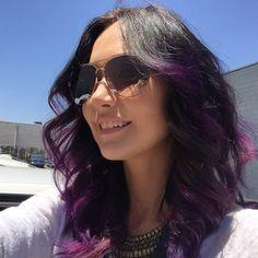 I want Jessica Chobot hair this fall! Purple Ombre, Purple Hair, Jessica Chobot, Dark Colors, Bangs, Sunglasses Women, Hair Makeup, Hair Beauty, Long Hair Styles