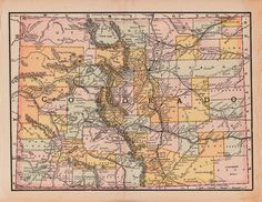 Old Map of Colorado from 1891,  a printable vintage map from ArtDeco on Etsy, a good source for vintage images.