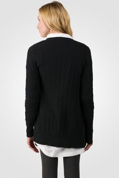 Black Cashmere Cable-knit V-neck Long cardigan Sweater [ JCashmere.com ]