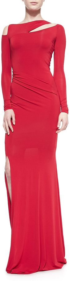 $1,977, Red Evening Dress: Donna Karan Long Sleeve Cold Shoulder Slash Gown Real Red. Sold by Neiman Marcus.