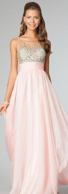 Cute Natural Pink Chiffon Long Sleeveless Evening Dresses Sale jijidresses74854 #promdress