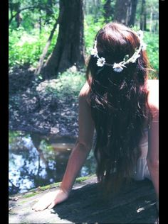 Long hair with flower crown