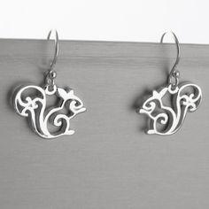 Squirrel Dangle Earrings - 925 Sterling Silver