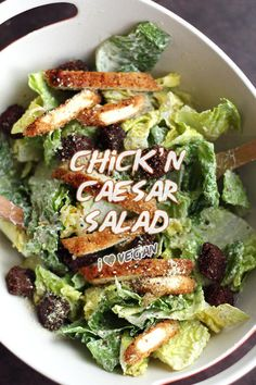 Vegan Crispy Chick'n Caesar Salad - ilovevegan.com