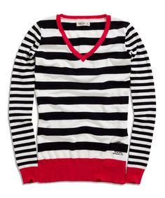 Another great find on #zulily! Black Stripe V-Neck Sweater #zulilyfinds