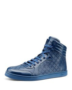 Diamante Leather High-Top Sneaker, Blue  by Gucci at Bergdorf Goodman.