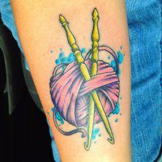 crochet yarn tattoo James Six, New Addictions Tattoos, Kalamazoo, Michigan