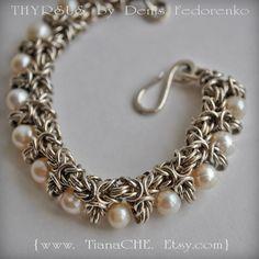 Bracelet Sterling Silver Chainmaille THYRSUS Akoya Pearls Statement Gemstones Bridal, Prom, Heirloom Byzantine Tudor, Hammered Hook Clasp. $400.00, via Etsy.