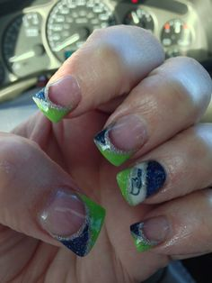 Seattle seahawks acrylic nails