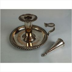 Victorian Candlestick Holder & Snuffer - Silver Plate On Copper (Lot Listing in the Silver Plate,Silver,Antiques Category on eBid United Kingdom Candelabra, Candlesticks, Online Marketplace, Candlestick Holders, Silver Plate, United Kingdom, Retro Vintage, Copper