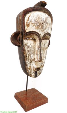 Fang Mask White Pigment Ngil on Stand Gabon Africa - Fang - African Masks