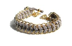 Grey Chevron leather gold chain bracelet pastel fashion by Daniblu, $22.00