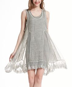 Simply Couture Green Lace-Hem Layered Sleeveless Dress by Simply Couture #zulily #zulilyfinds