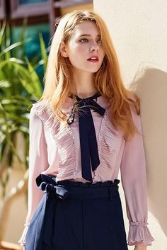 Bow Pleat Ruffle Pink Blouse