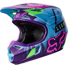 Blue/Purple Sz S Fox Racing Vicious Special Edition Youth Helmet Kids Motocross Helmet, Kids Motorcycle Helmets, Motorcross Helmet, Motocross Girls, Fox Helmets, Dirt Bike Riding Gear, Dirt Bike Girl, Dirt Biking, Cars