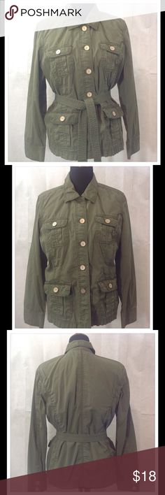 Liz Claiborne Jacket Casual army green jacket could be paired with almost any pair of jeans. Great for cool days and great for comfort. 100% cotton. Machine wash cold. Liz Claiborne Jackets & Coats